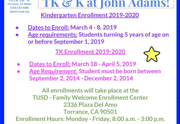 TK and K enrollment for 2019-2020 is happening now at the TUSD Family Welcome Center.