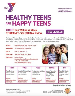 YMCA Flyer to FREE MH month activities week of May 20th