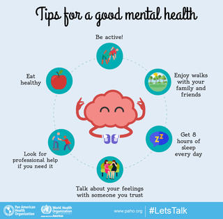Tips for good mental health image: Be Active, Enjoy walk with your family & friends, get 8 hours of sleep every day, eat healthy, look for professional help if you need it, talk about your feelings with someone you trust #letstalk