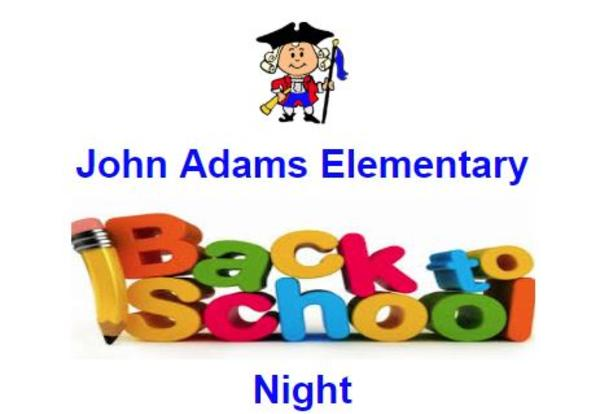 Back To School Night, Thursday, September 19, 2019
