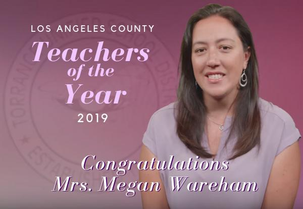 Mrs. Megan Wareham, Hull Math teacher named one of LA County's Teachers of the Year