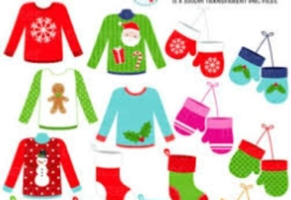 picture of ugly holiday sweaters, mittens, and stockings