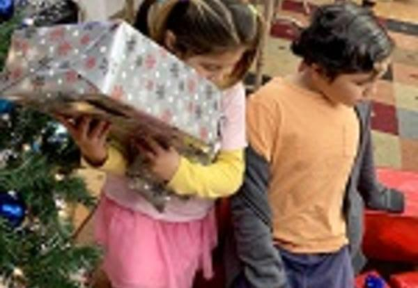children with holiday gifts