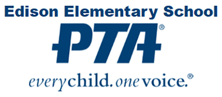 Logo for Edison Elementary PTA. One Child. One Voice.