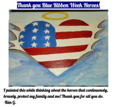 Image of Student Art Work created for Blue Ribbon Week