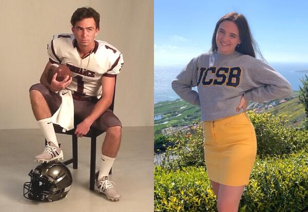 Two students pose for a picture. Left, a Torrance High School football player. Right, a student wearing a UCSB sweatshirt.