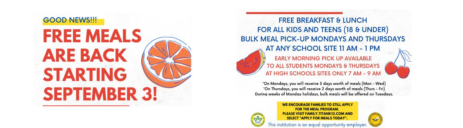 Free meals are back starting September 3rd