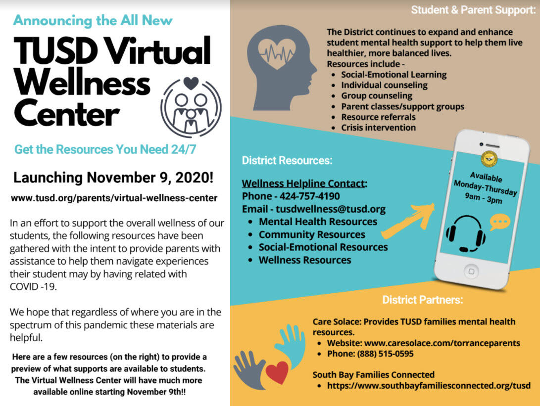 TUSD Virtual Wellness Center and Helpline