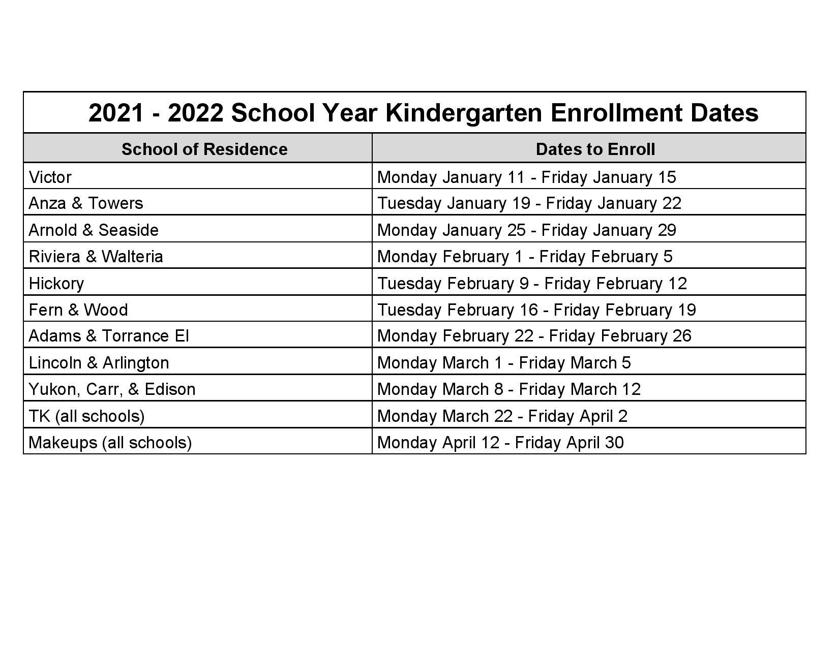 2021-2022 School Year Kindergarten Enrollment Dates