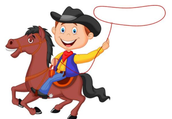 cartoon cowboy with lasso on horse