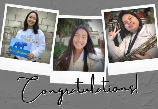 Three images of young women. One is holding a sign that says 'UCLA Bound.' The other looks into the camera smiling. The third is holding up two fingers and smiling.
