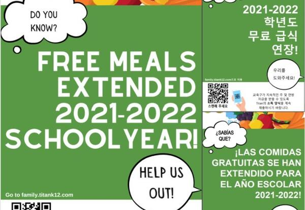 Free Meals Extended for the 21-22 year