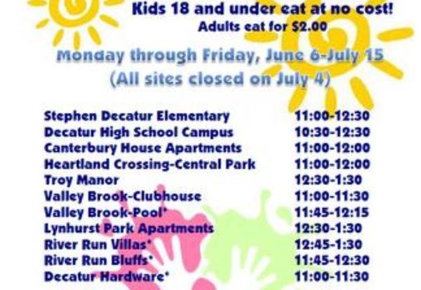 MSD Decatur Announces Summer Servings Sites, Calendar and Menus