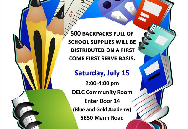 3rd Annual School Supply Giveaway, Saturday, July 15