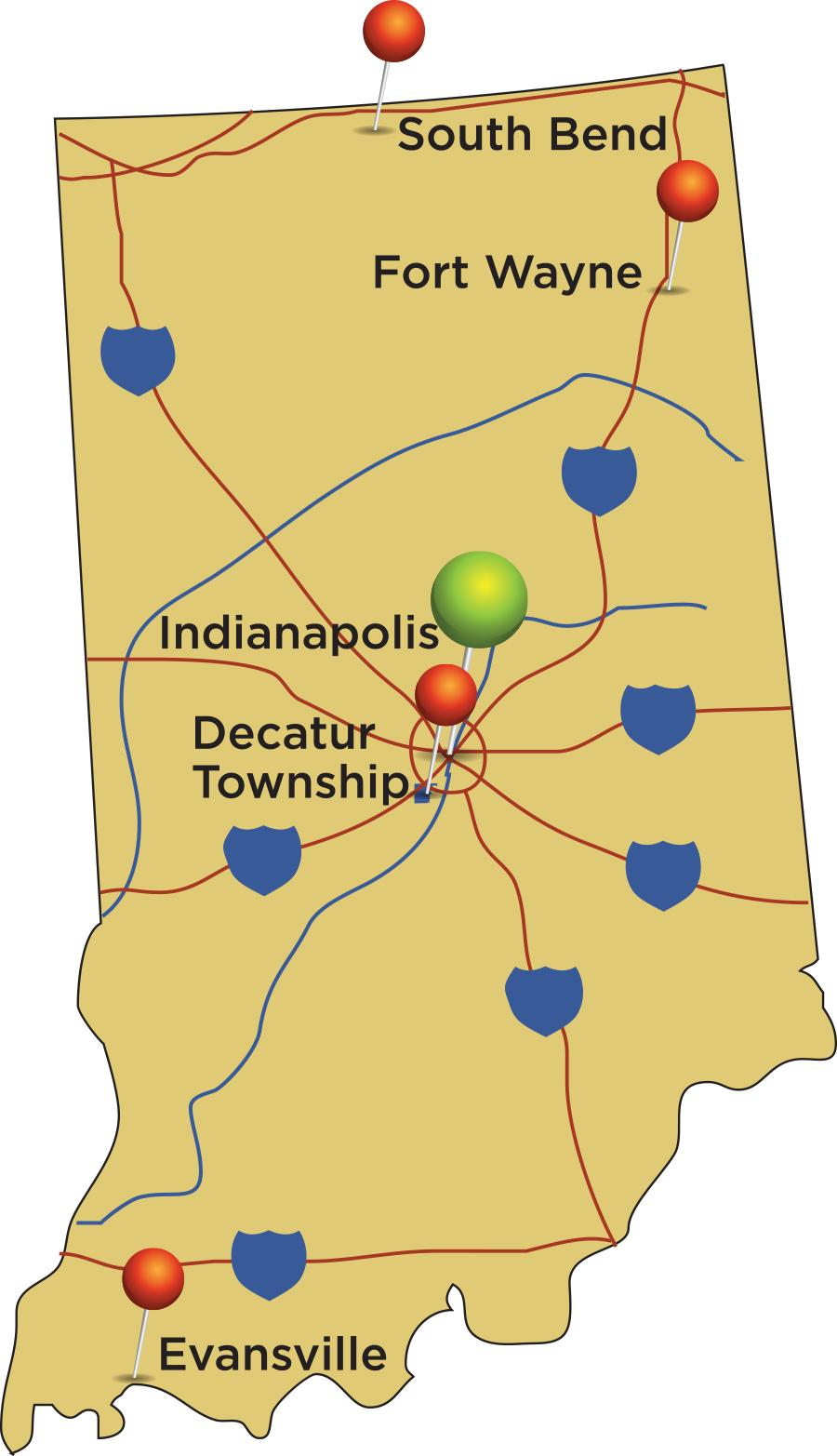 Graphical map of Indiana with Decatur in the center