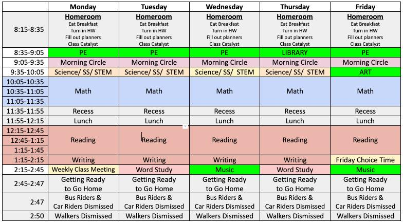 Schedule | Ms  Lanenga's 4th Grade