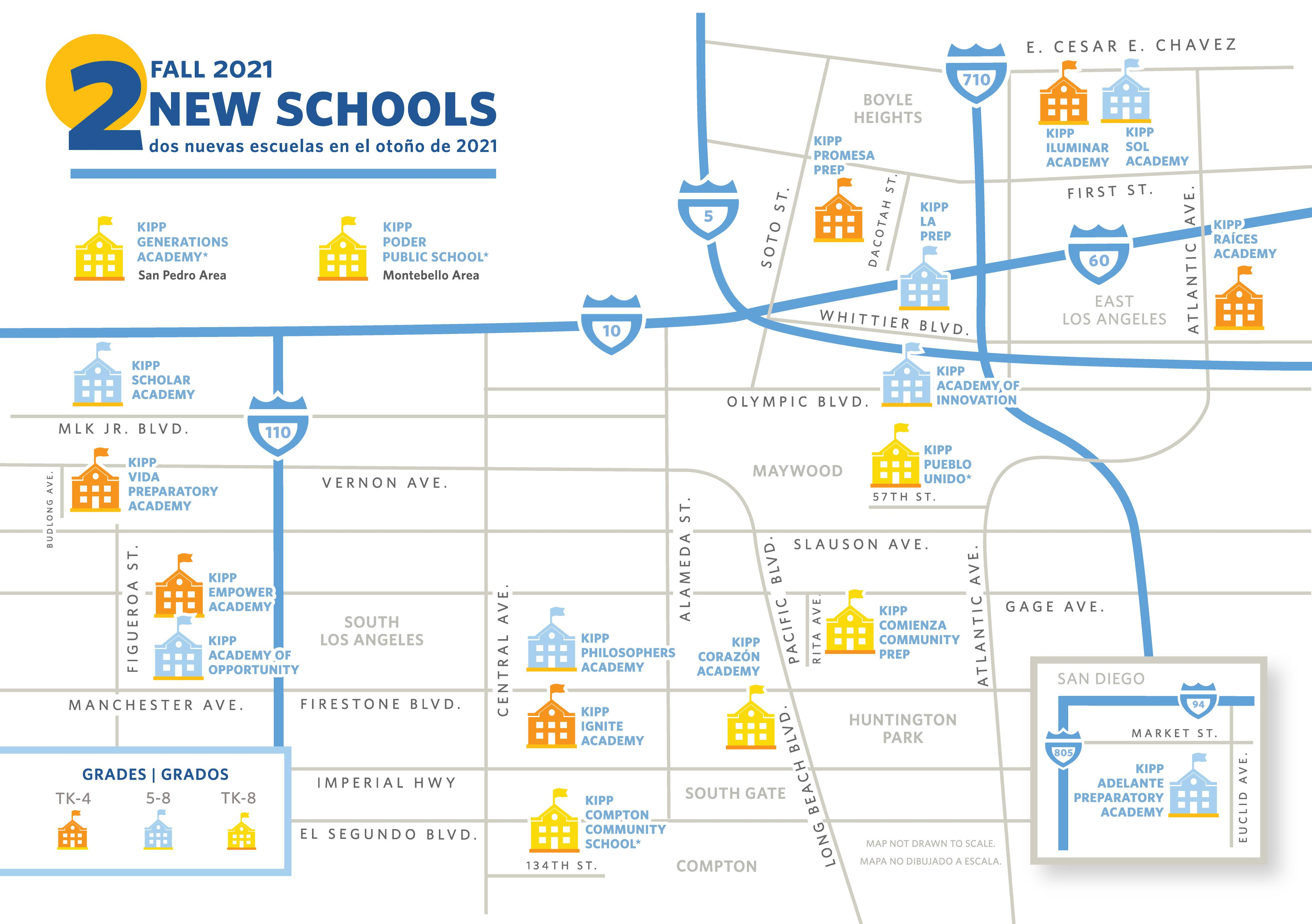 map of KIPP SoCal schools
