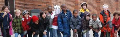 Students picture outside the school