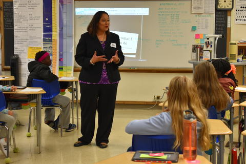 Longfellow Career Day: Wendy Cornejo, an assistant state's attorney, talks to students about her most difficult cases.