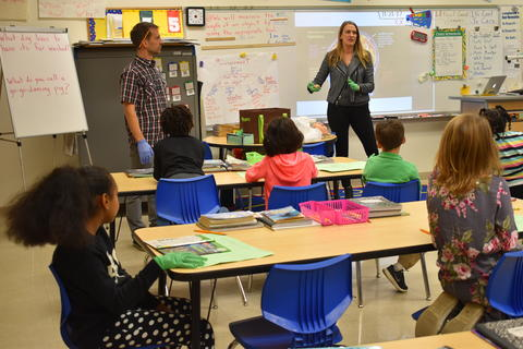 Longfellow Career Day: Vicki Tysseling, a neuroscientist and assistant professor at Northwestern University, talks to Mr. Naber's class about brain anatomy.
