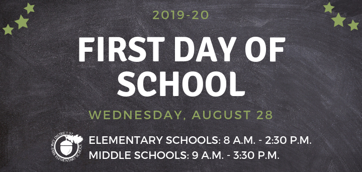 First Day of School in District 97: Wednesday, Aug. 28, 2019