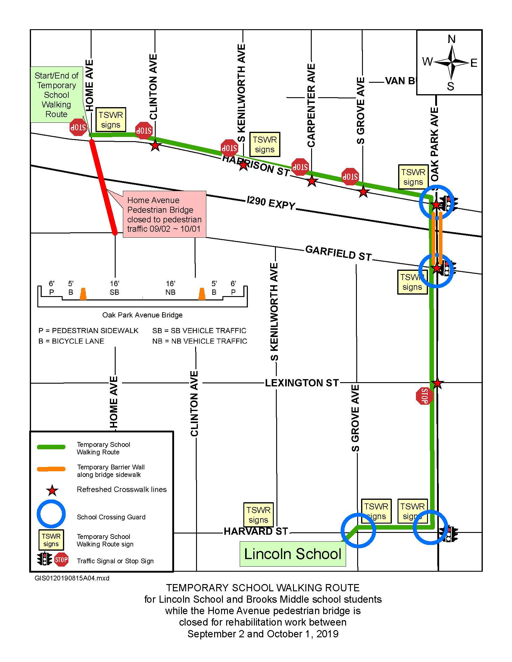 Map of Home Avenue Closure and Alternative Safe Walking Route