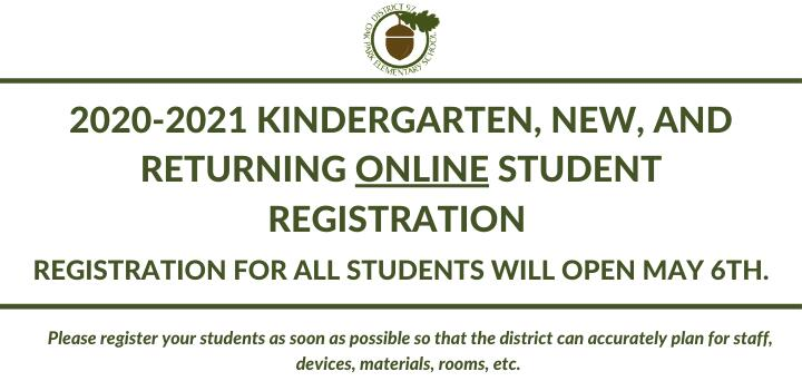 Image  2020-2021 Kindergarten, new, and returning online student registration