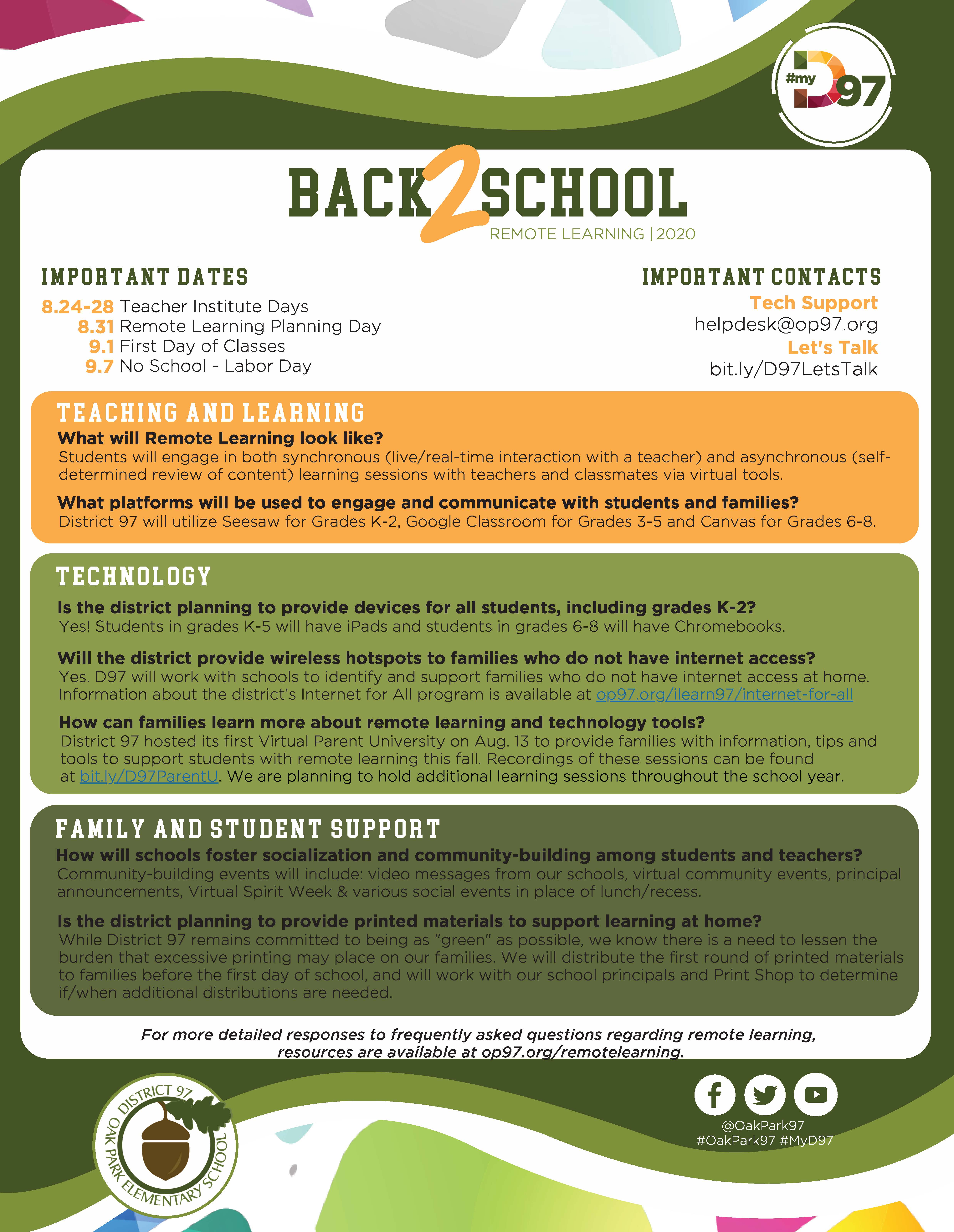 Photo: D97 Back to School Fact Sheet 2020