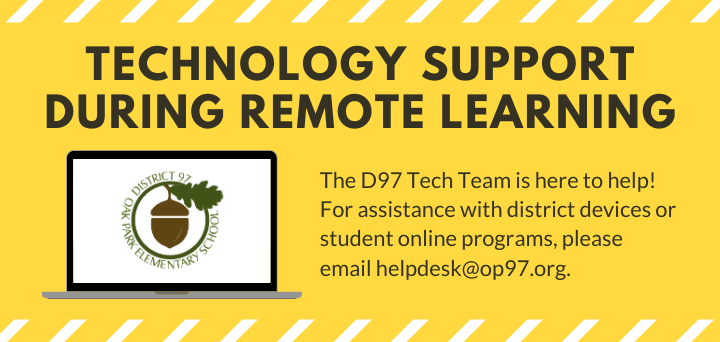 Banner text: Email helpdesk@op97.org for D97 technology support