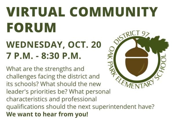Superintendent Search Virtual Community Forum - Oct. 20 at 7 p.m.