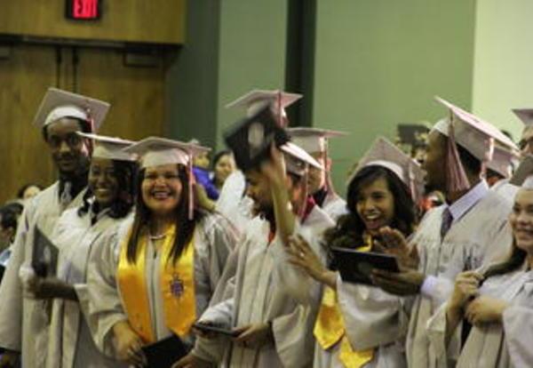 Students celebrating at ceremony