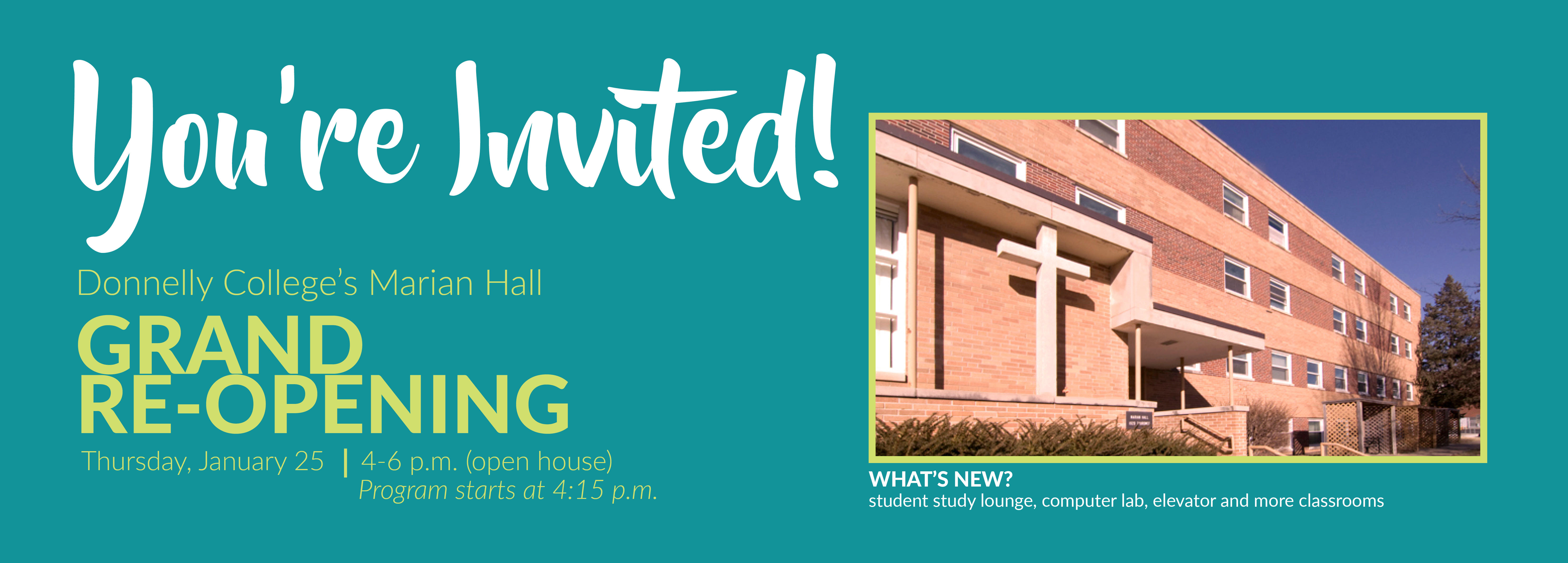 Donnelly College's Marian Hall Grand Re-Opening invite