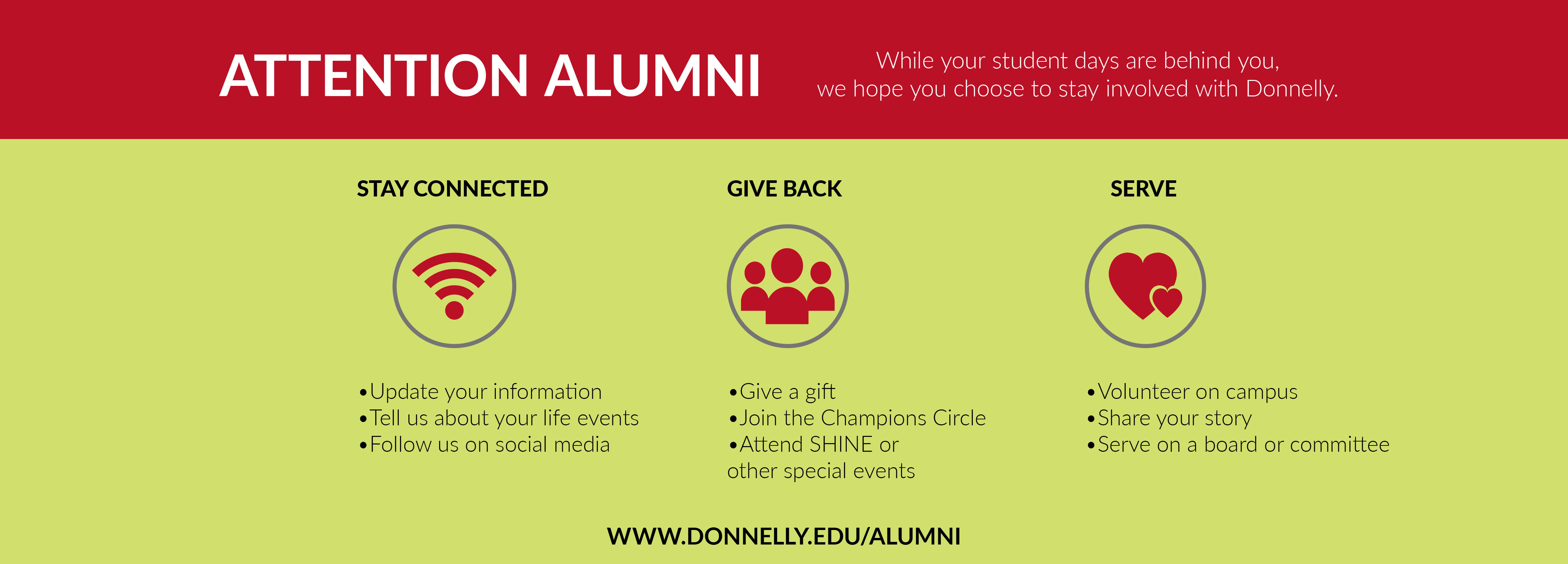 Attention Alumni: Stay Connected, Give Back, Serve
