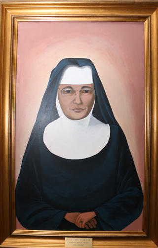 Portrait of Sr. Jerome Keeler by Sr. Paula Howard in Icon tradition