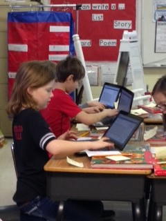 Students using their laptops