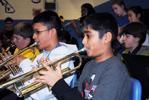 Students playing in a band