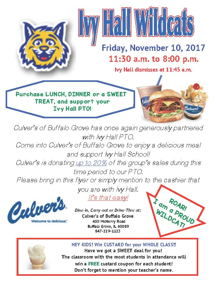 Culver's PTO Fundraising Day | November 10, 2017 | Ivy Hall