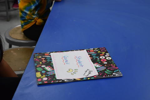 Card on multicolor paper says Student Council