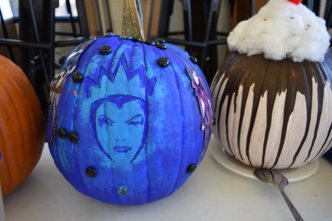 Pumpkin blue, carved like Wicked Queen in Snow White