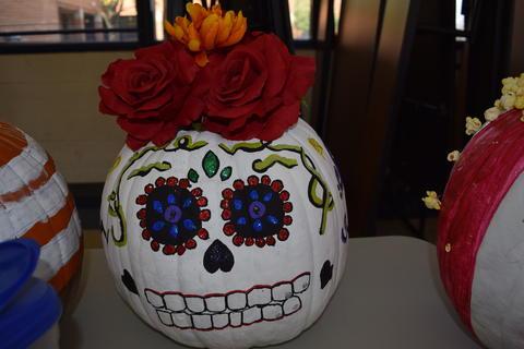Pumpkin decorated to look like Dia de lost Muerte skeleton