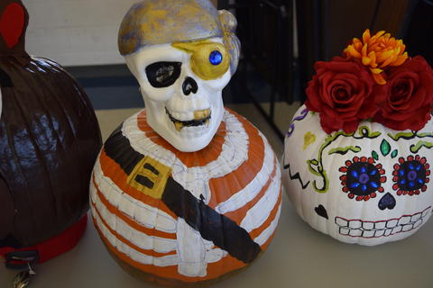 Pumpkin designed to look like zombie pirate
