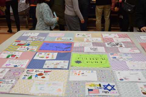 cultural quilt on tabletop