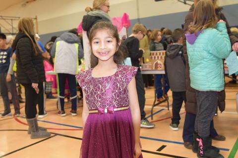 smiling girl in formal dress