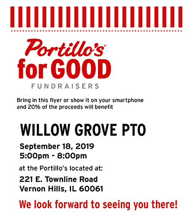 Portillo's flyer for the Willow Grove PTO advertising Sept. 18 donation opportunity