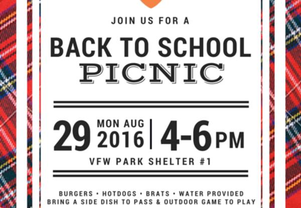 Back to School Picnic on August 29