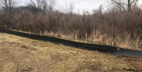 A silt fence has been installed around the entire site to help keep the surrounding areas protected from loose soil in the stormwater runoff.