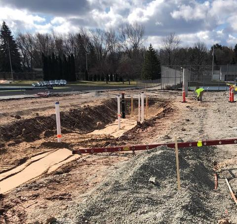 Over by the Stadium, crews worked on the west side to remove the existing fencing, foundations, and site concrete. This allowed for work to begin on the new restroom buildings.  Although not pictured, the bleachers on the east side have been also been removed.