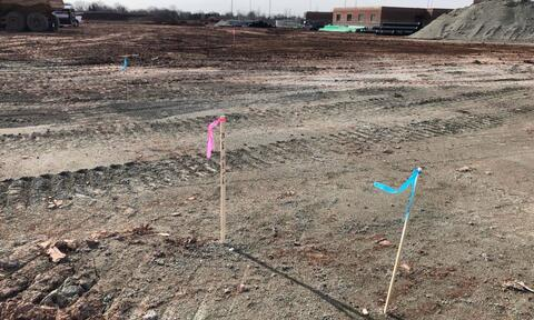 The site has been staked out in preparation to pouring the concrete footings.  Footings are scheduled to begin late next week.