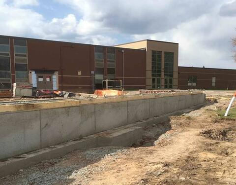 Miron crews worked hard this week pouring walls for the Classroom Addition, so masonry walls can start in the next week.