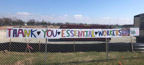 On Wednesday morning, the team arrived to find this sign posted to the fence.  Seeing that kind of support and appreciation from the community was very special and puts a smile on the face of every employee coming here to help out with this project.